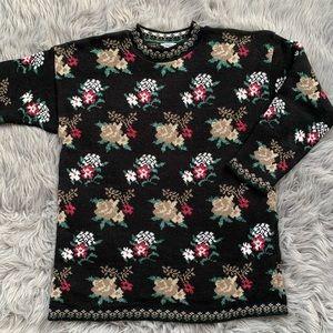 Vintage Basic Editions Mock Neck Floral Sweater